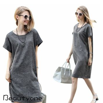 Women's Linen Short Sleeve Oversize Tunic Dress