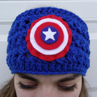 Captain America Superhero Headband - Crochet Earwarmer