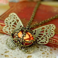 YESSTYLE: Cuteberry- Jeweled Butterfly Pendant (Bronze - One Size) - Free International Shipping on orders over $150