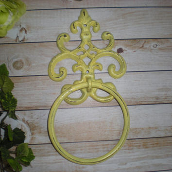 YELLOW - Hand Towel Ring - Fleur de lis Holder - Distressed Cast Iron - Bathroom Metal Fixture - Accessory Rack - Shabby Chic