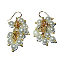 White Pearl Earrings, Gold Beaded Cluster Dangle