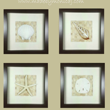 RESERVED - Set of 4 Seashell Shadow Box Wall Decor