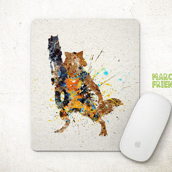Rocket Raccoon Mouse Pad, Guardians of the Galaxy Watercolor Art, Mousepad, Office Decor, Gifts, Art Print, Desk Deco, Avengers Accessories