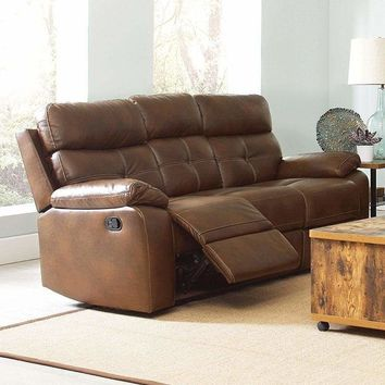 Contemporary Style Button Tufted Faux Leather Reclining Sofa, Brown - 601691