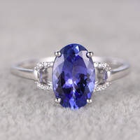 2.35ct Round Blue Tanzanite Engagement Ring Diamond Wedding Ring 14K White Gold Unique Prong Set
