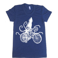 Women's SQUID on a BIKE T Shirt - American Apparel 50/50 Poly Cotton - S M L XL (20 Color Options)