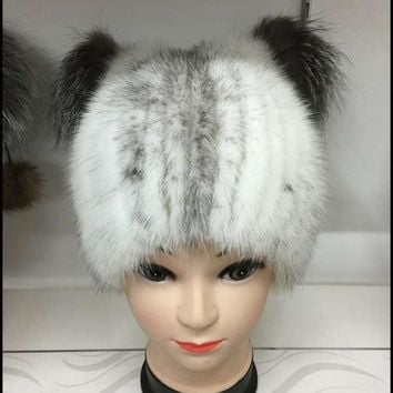 Fashion Hot sale real mink fur hat for women winter knitted mink fur beanies cap  female fur cap