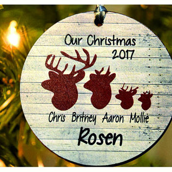 Our First Christmas as Mr & Mrs , Deer ornament, Personalized christmas tree ornament,tree ornament , Wedding Ornament, christmas gift (Ch1)