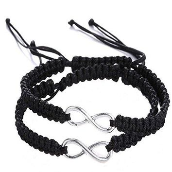 AUGUAU Shlonger 2Pcs Women Men Boys Girls Handmade Infinity Forever Couple Cuff Strentch Bracelets
