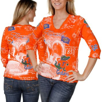 Florida Gators Ladies Orange Ruffled School Spirit 3/4 Sleeve Premium V-neck T-shirt