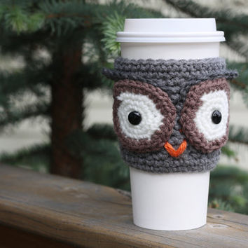 Crochet Owl Cup Cozy/Sleeve - Grey and Brown (Ready to Ship)