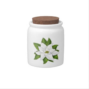 White Poinsettia Round Candy Jar