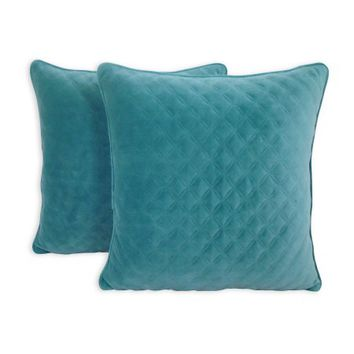 Better Homes and Gardens Quilted Velvet Decorative Throw Pillow, Teal, 2 pack - Walmart.com