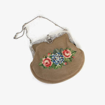 Antique TIFFANY & CO Purse / Sterling Silver Floral Frame and Petit Point Needlepoint Handbag Dated 1876