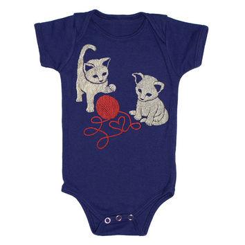 Kittens - Baby One Piece Bodysuit Romper Jumper Kitties Cats Playing Friends Love Cute Red Yarn Navy Blue Onesuit