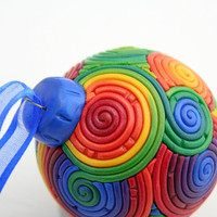 Rainbow Christmas Ornament in Polymer Clay by StarlessClay on Etsy