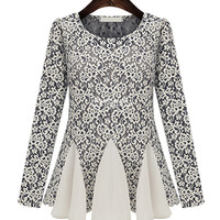 Gray Floral Crochet Lace Long Sleeve Flared Dress