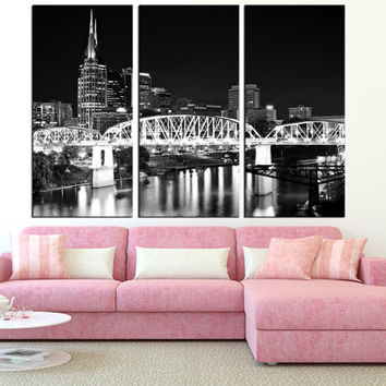 Nashville tennessee Canvas Print wall art, extra large wall art, citycapecanvas art, Nashville skyline wall art, modern wall decor t231