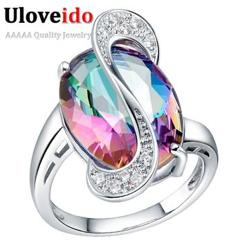 Uloveido Rainbow Stone Silver Big Rings for Women Jewelry Gifts 2017 Wedding Ring Female Anel Anillos Mujer Dropshipping J460