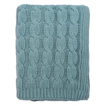The Sea Glass Large Cable Knit Throw