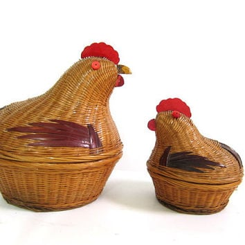 instant collection of 2 Vintage Wicker Chicken and Hen Baskets // home display