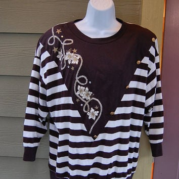 Vintage 80s Young Stuff Black & White Striped Gold Floral Rope Nautical Buttons Embellished Shirt Top Oversized Tunic Size 1X