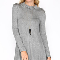CLASSIC SMOCKED TURTLENECK SWING DRESS - GREY