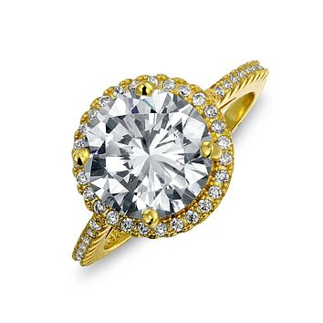 3CT Solitaire CZ Halo Engagement Ring 14K Gold Plate Sterling Silver