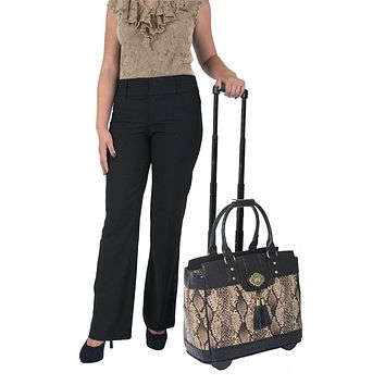 """""""THE BARCELONA"""" Rolling  iPad, Tablet Laptop Tote Carryall Bag"""
