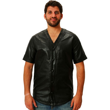 Mens Leather Shirt Black Baseball Jersey style Snakeskin Trim Nappa Sheepskin