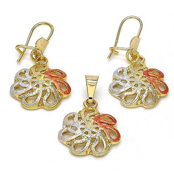 Gold Layered 10.170.0010 Earring and Pendant Adult Set, Flower Design, Diamond Cutting Finish, Tri Tone