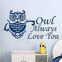 Wall Decals Quotes Vinyl Sticker Decal Quote Owl Always Love You Nursery Baby Room Kids Boys Girls Home Decor Bedroom Art Design Interior NS575