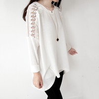 Lace Flower Crochet Shoulder Long T-shirt For Her