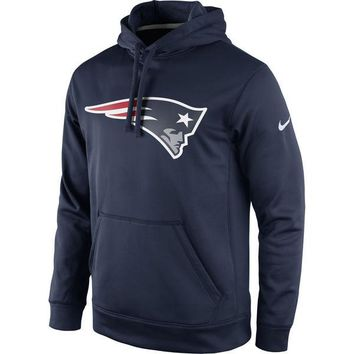 New England Patriots Men's Nike Navy Circuit Logo Essential Performance Pullover Hoodie