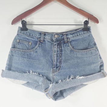 HIGH WAISTED Denim Shorts - High Waist Jean Shorts - Bill Blass - Size 8 / 10