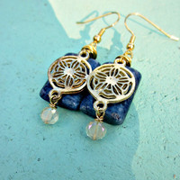 Earrings, Gold Wrapped Blue Jasper with Glass: Shield