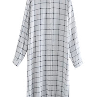 Monochrome Check Print Slit Side Dipped Back Shirt Dress