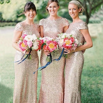 Gold Sequins Bridesmaid Dresses Custom Made Luxury Bling Long Bridesmaid Dresses