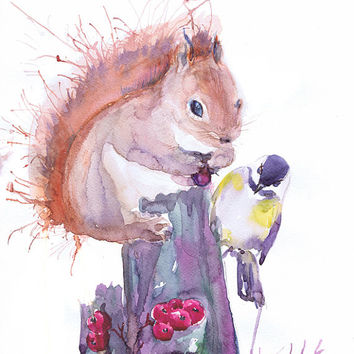 Squirrel  art print, abstract squirrel painting , woodland nursery decor , woodland creatures, watercolor print, titmouse, animal art