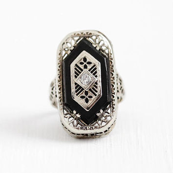 Antique Onyx Ring - Vintage Art Deco 14K White Gold Diamond Fine Jewelry - 1920s Size 3 3/4 Filigree Black Onyx Gem 20s Flower Statement