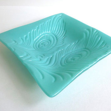 Peacock Feather Imprinted Dish in Turquoise Opaque Fused Glass