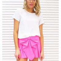 Shorts Bow High Waist in Pink