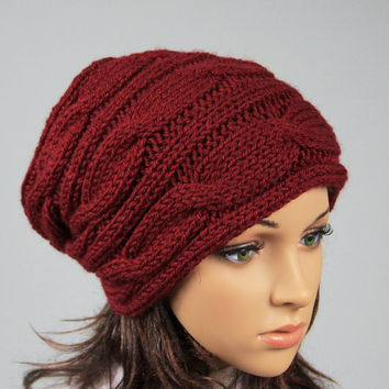 Womens slouchy - beanie hat - Hat-Slouchy Beanie - Large hat - Knit Winter Fall Accessories Knit Cable hat