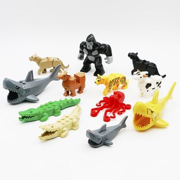 City Animal Building Blocks Animal Zoo Shark Crocodile Leopard Octopus Cattle Brick Toy Compatible LegoINGly Friends Accessories