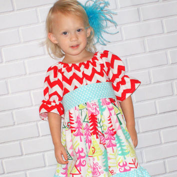 Girls Christmas Dress Toddler Christmas Dress Red Chevron Dress Baby Dress Christmas Outfit Boutique Clothing By Lucky Lizzy's