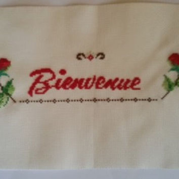 Bienvenue flower tray cover Free Shipping Worldwide DMC Finished cross stitch