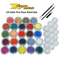 24 Color Pro Face Paint Color Set. Large 10-ml Jars with Applicator Kit. A Full 24 Color Rainbow Pallet, Perfect for Face Painting At Any Children's Party.