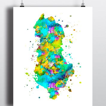 Albania Map Art Print - Unframed