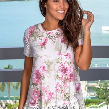 Off White Floral Top with Lace Detail