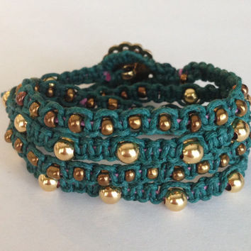 Handmade 4x Macrame Wrap Bracelet / Filigree Button Closure / Friendship Bracelet / Gold Beads / Bronze Accents / Cotton Cord FREE SHIPPING